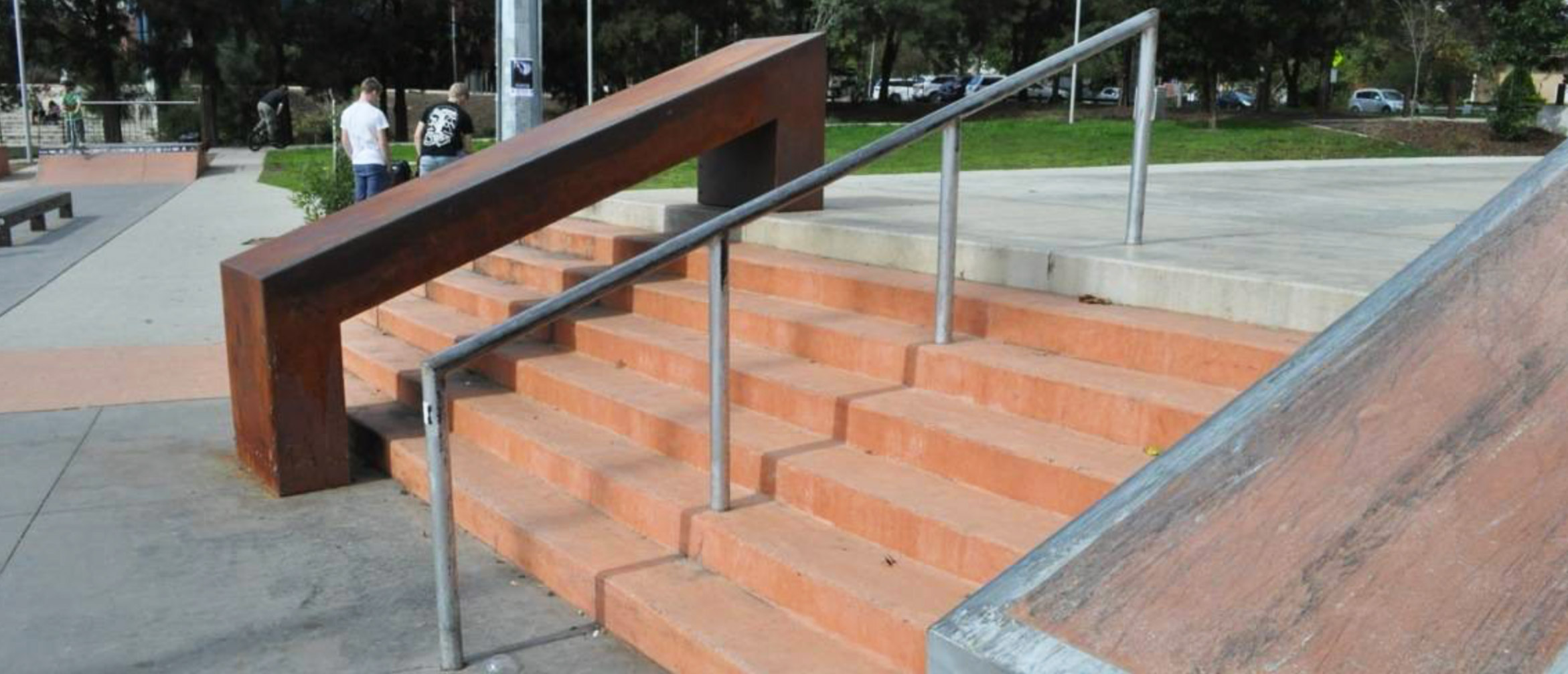 Belconnen skate park rail and hubba