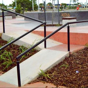 Gap to rail, Capalaba skate park street section, Concrete Skateparks build