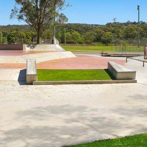 Cromer skate park grass gap, ledges, banks, rail, street section