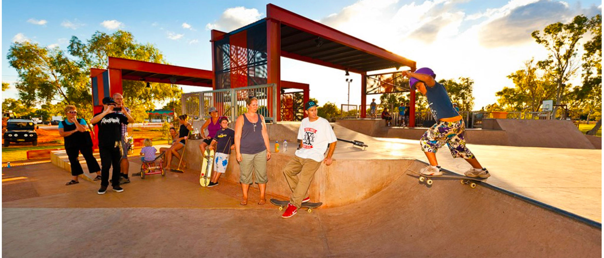 Young skater drops in at Exmouth skate park Western Australia