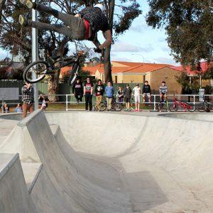 BMX tail whip at Kalgoorlie skate park Western Australia, Concrete Skateparks