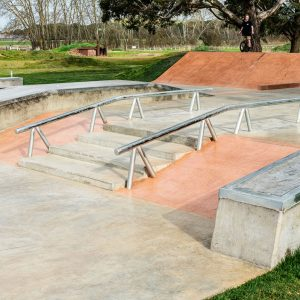 Lancefield skate park rails, hubbba and stairs