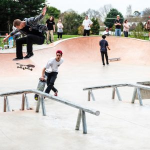 Alex Lawton switch heelflip at Lancefield skate park opening
