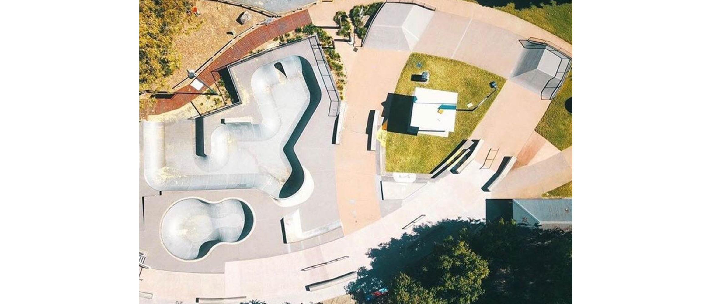 birds eye view of Nerang skate park for Concrete Skateparks portfolio