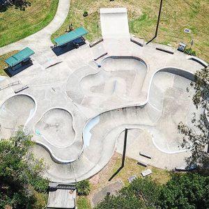 Nimbin skate park birds eye view, Concrete Skateparks design & construct