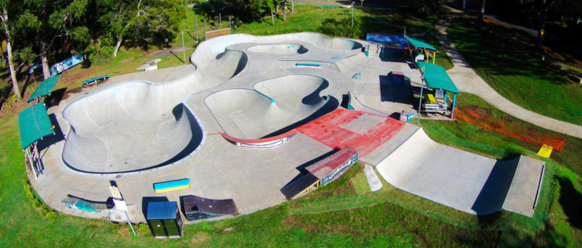 Nimbin skate park drone shot