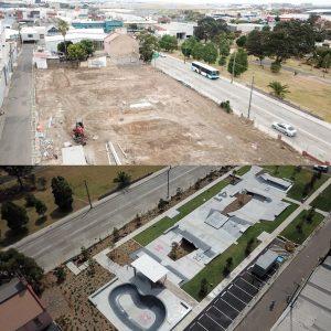 Sydenham skate park before and after