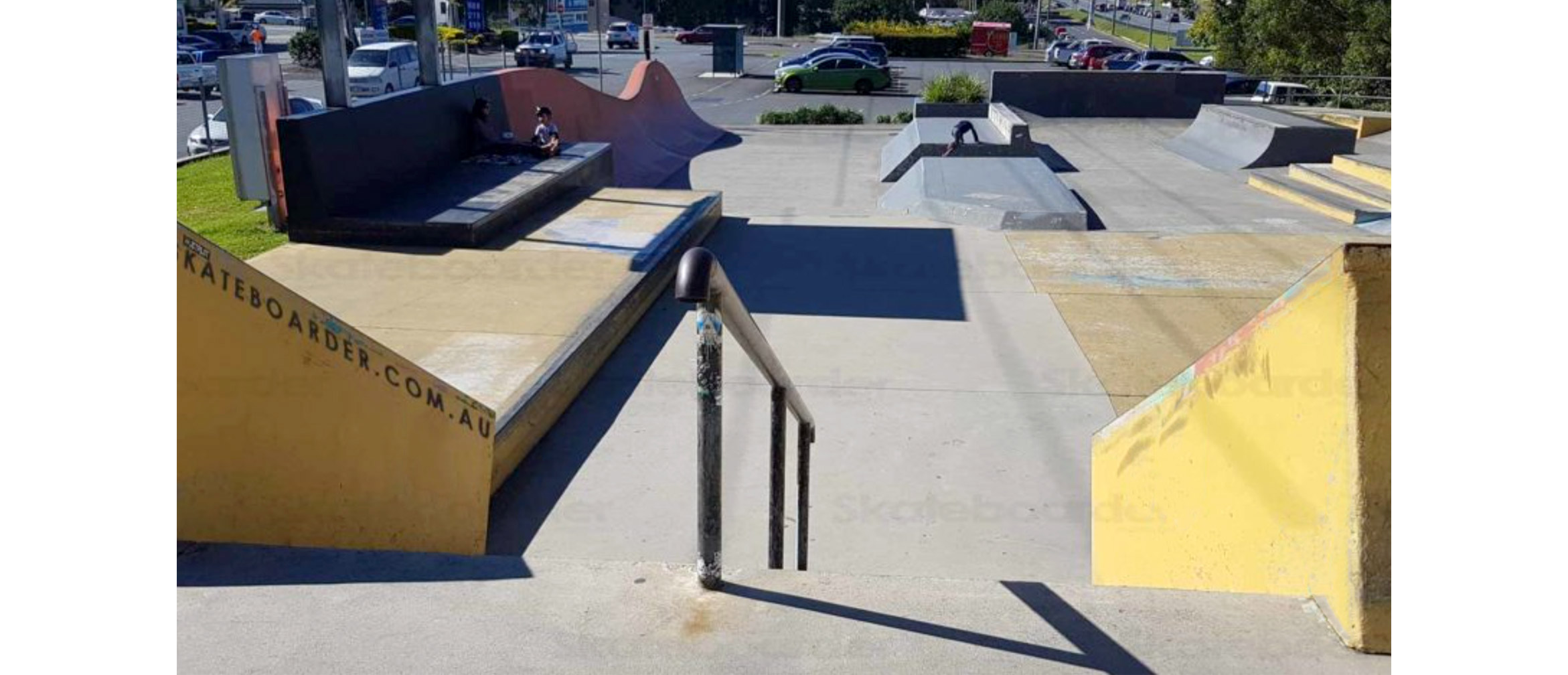 Varsity skate park hybrid section with rails, stairs and transitions